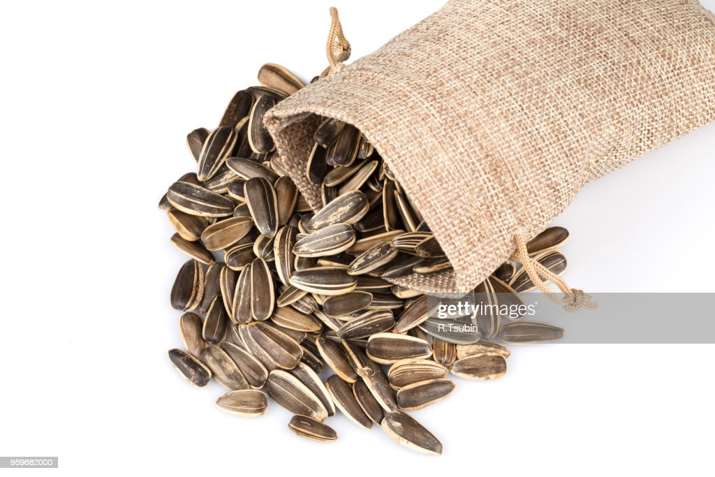 sunflower seeds in hessian sack isolated on white background : Stock-Foto