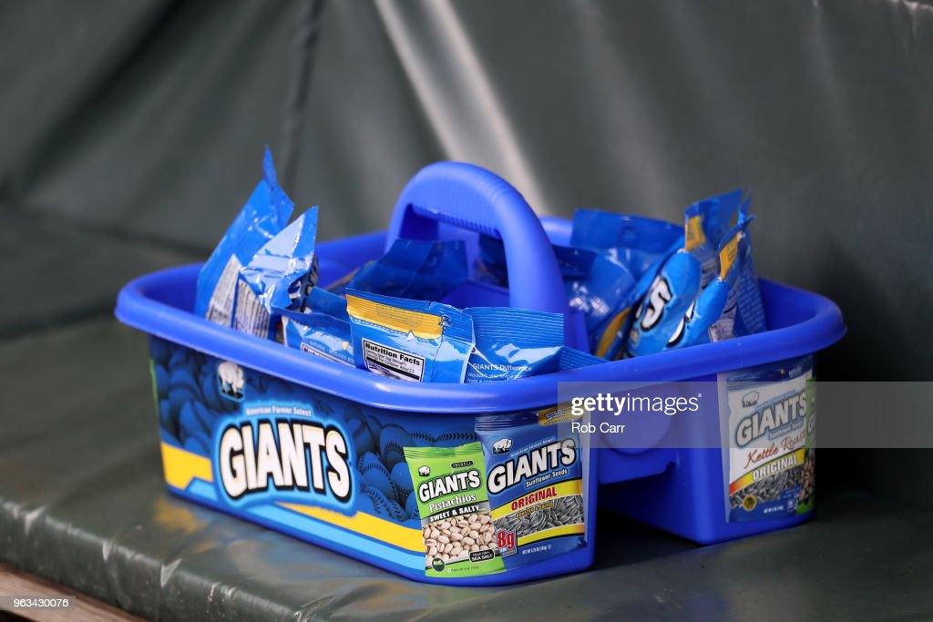 Sunflower seeds sit in the dugout before the start of the Washington Nationals and Baltimore Orioles game at Oriole Park at Camden Yards on May 28, 2018 in Baltimore, Maryland.