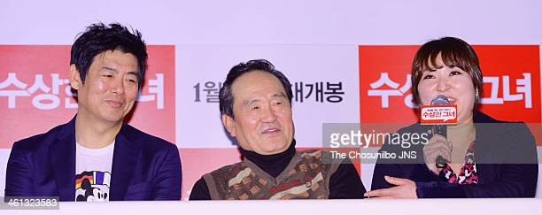 Sung DongIl Park InHwan and Kim HyunSook attend the movie 'Miss Granny' press conference at Wangsimni CGV on January 6 2014 in Seoul South Korea