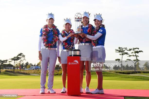 Sung Hyun Park, In-Kyung Kim, In Gee Chun and So Yoen Ryu of South Korea pose for photographs with the trophy after winning the UL International...