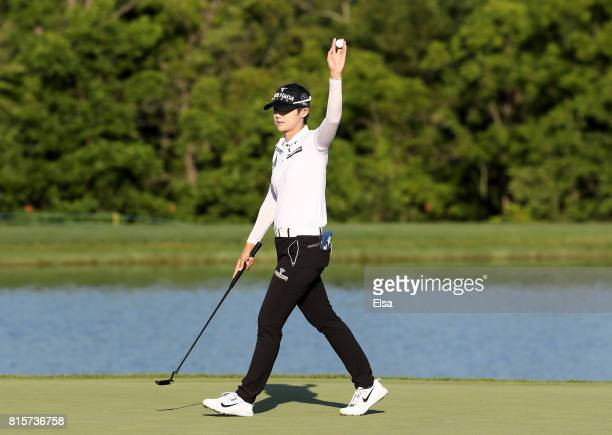 Sung Hyun Park of Korea celebrates after her final putt on the 18th green giving her the victory during the final round of the US Women's Open on...