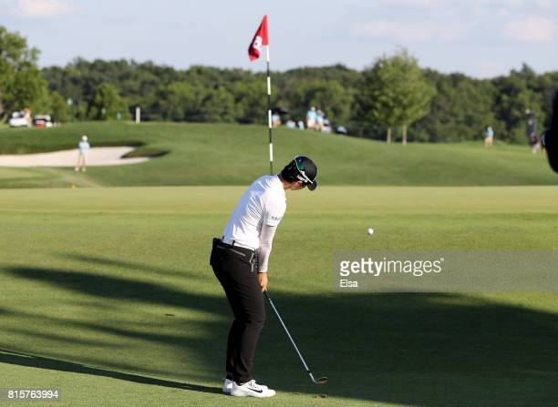 Sung Hyun Park of Korea chips onto the 18th green during the final round of the US Women's Open on July 16 2017 at Trump National Golf Club in...