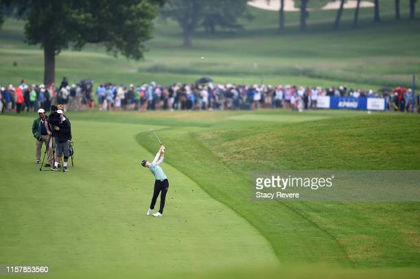 Sung Hyun Park of Korea hits her second shot on the 18th hole during the final round of the KPMG PGA Championship at Hazeltine National Golf Club on...
