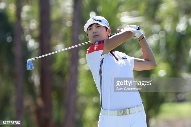 Sung Hyun Park of Korea plays a shot on the second hole during round three of the CME Group Tour Championship at the Tiburon Golf Club on November 18...