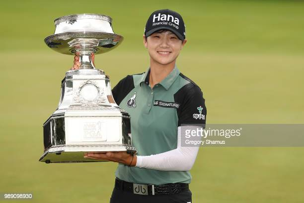 Sung Hyun Park of Korea poses with the championship trophy after winning the 2018 KPMG PGA Championship at Kemper Lakes Golf Club on July 1 2018 in...