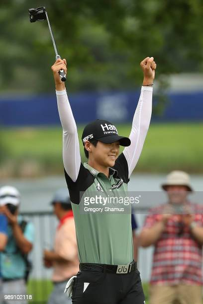 Sung Hyun Park of Korea reacts after making a birdie putt on the second playoff hole to win the 2018 KPMG PGA Championship at Kemper Lakes Golf Club...