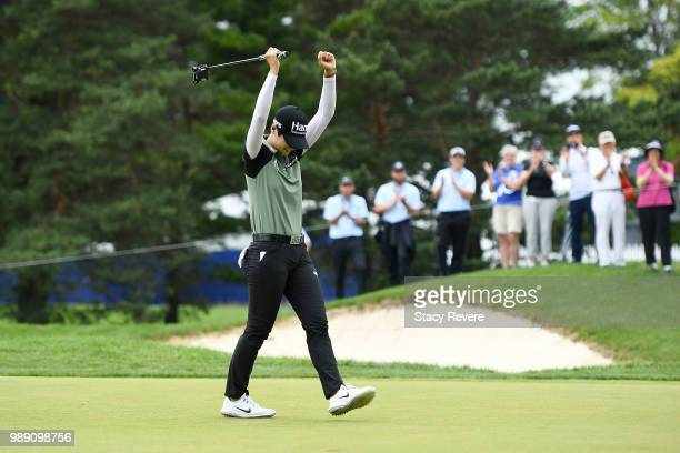 Sung Hyun Park of Korea reacts on the second playoff hole after winning the 2018 KPMG Women's PGA Championship at Kemper Lakes Golf Club on July 1,...