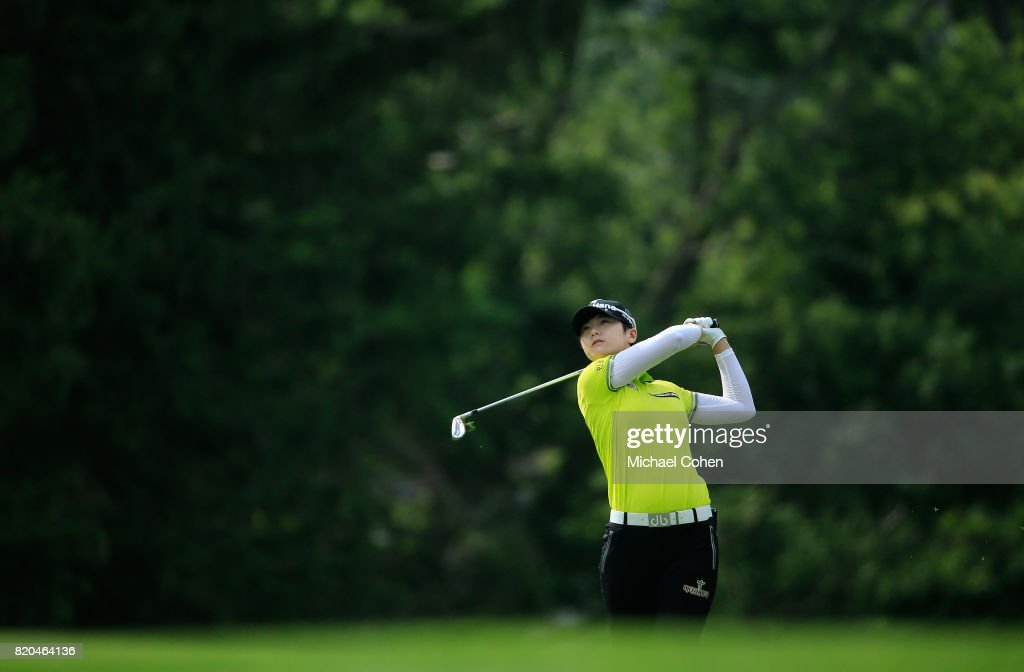 Sung Hyun Park of South Korea hits her second shot on the 16th hole during the second round of the Marathon Classic Presented By Owens Corning And O-I held at Highland Meadows Golf Club on July 21, 2017 in Sylvania, Ohio.