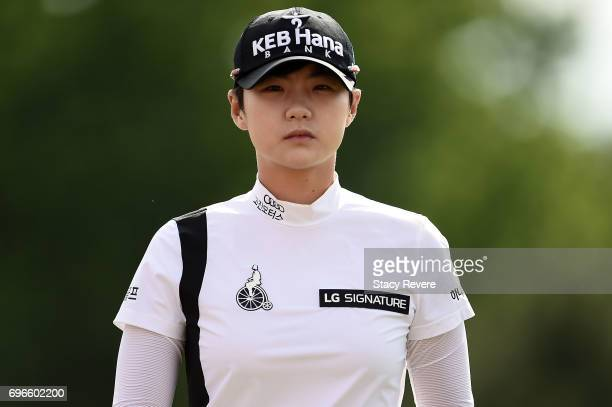 Sung Hyun Park of South Korea leaves the 17th green during the second round of the Meijer LPGA Classic at Blythefield Country Club on June 16 2017 in...