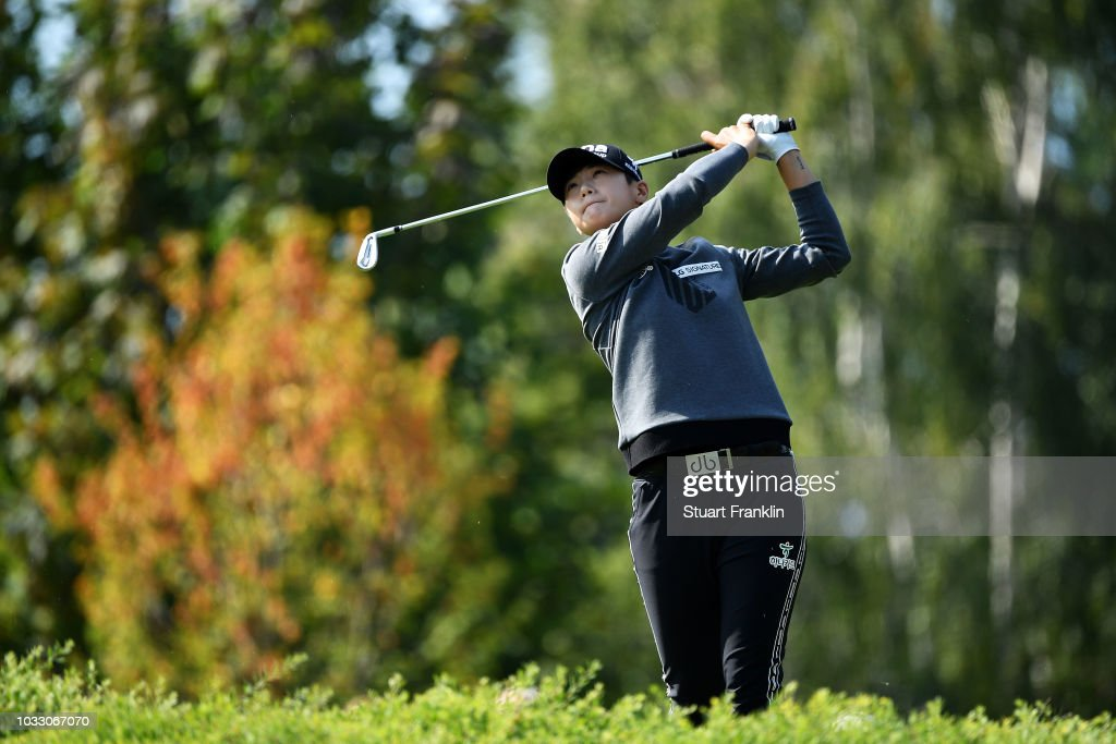 Sung Hyun Park of South Korea plays a shot during day two of the Evian Championship at Evian Resort Golf Club on September 14, 2018 in Evian-les-Bains, France.
