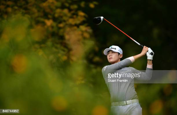 Sung Hyun Park of South Korea plays a shot during the first round of The Evian Championship at Evian Resort Golf Club on September 14 2017 in...