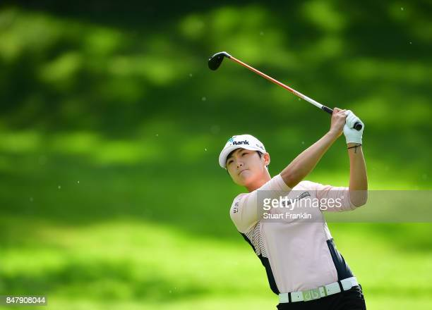 Sung Hyun Park of South Korea plays a shot during the second round of The Evian Championship 2017 at Evian Resort Golf Club on September 16 2017 in...