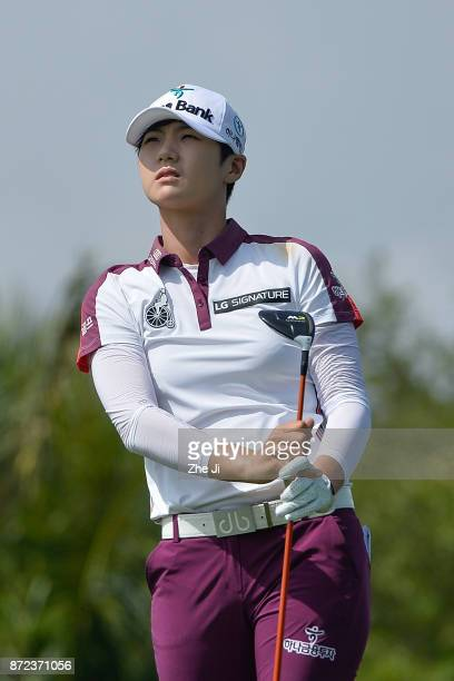 Sung Hyun Park of South Korea plays a shot on the 14th hole during the third round of the Blue Bay LPGA at Jian Lake Blue Bay golf course on November...