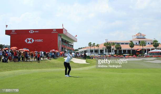 Sung Hyun Park of South Korea plays her second shot on the 18th hole during the final round of the HSBC Women's World Championship at Sentosa Golf...