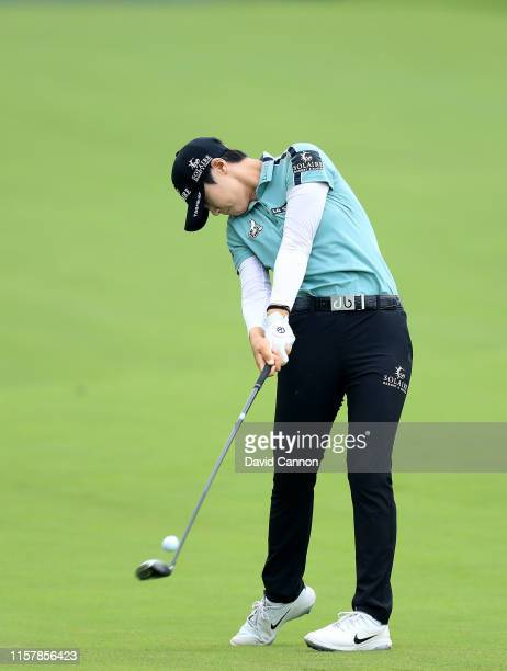 Sung Hyun Park of South Korea plays her second shot on the par 5 15th hole during the final round of the 2019 KPMG Women's PGA Championship at...