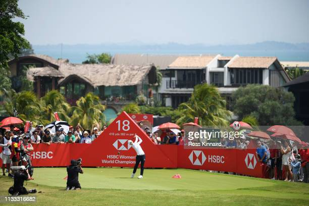 Sung Hyun Park of South Korea plays her shot from the 18th tee during the final round of the HSBC Women's World Championship at Sentosa Golf Club on...