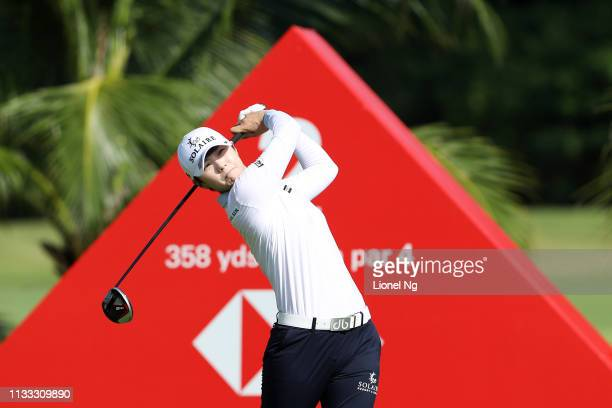 Sung Hyun Park of South Korea plays her shot from the second tee during the final round of the HSBC Women's World Championship at Sentosa Golf Club...