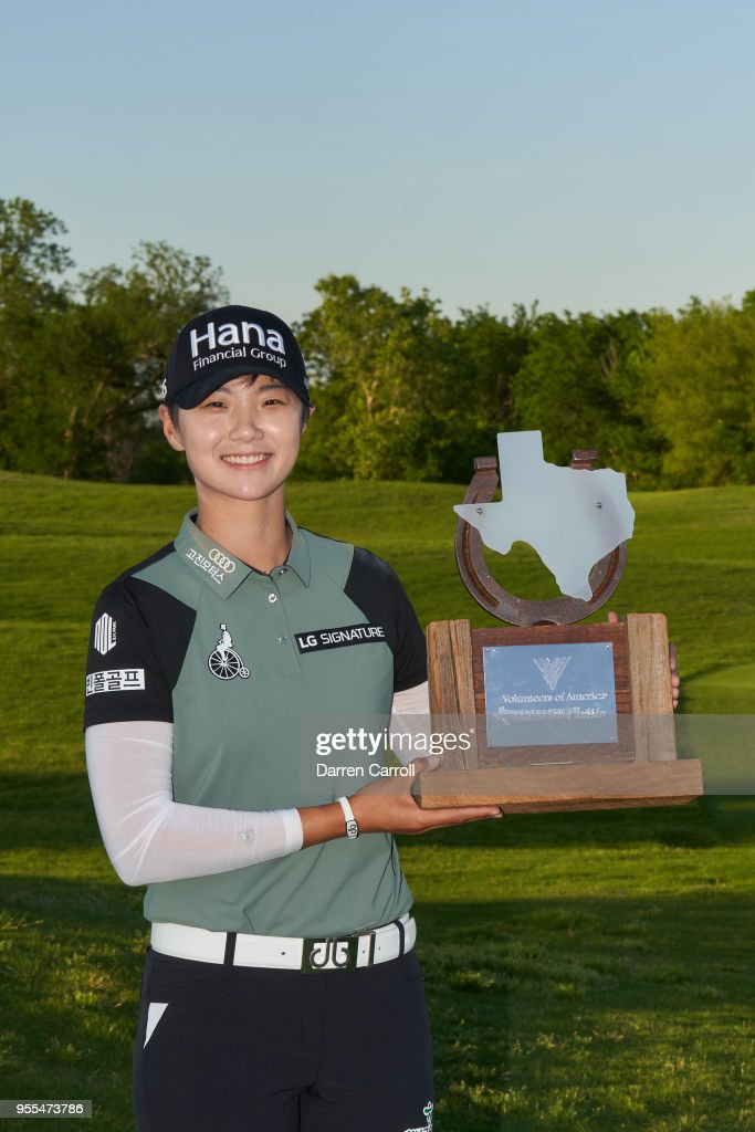 Sung Hyun Park of South Korea poses with the champion's trophy following the 2018 Volunteers of America LPGA Texas Classic at Old American Golf Club on May 6, 2018 in The Colony, Texas.