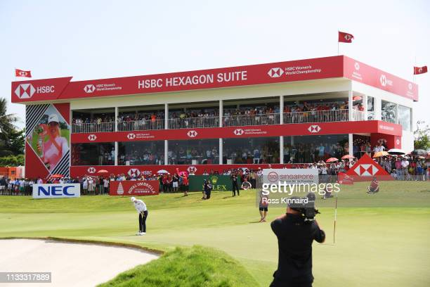 Sung Hyun Park of South Korea putts on the 18th green during the final round of the HSBC Women's World Championship at Sentosa Golf Club on March 03...