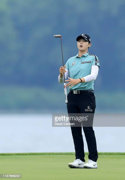 Sung Hyun Park of South Korea reacts after just missing a birdie putt on the par 4 16th hole during the final round of the 2019 KPMG Women's PGA...