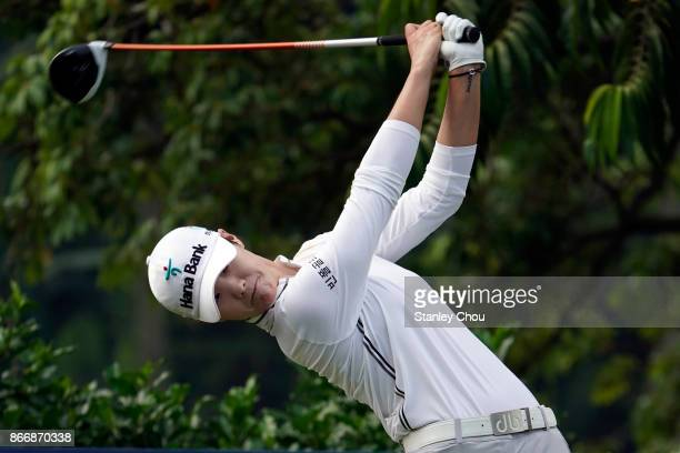 Sung Hyun Park of South Korea tees off on the 4th hole during day two of the Sime Darby LPGA Malaysia at TPC Kuala Lumpur East Course on October 27...
