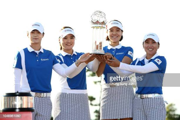 Sung Hyun Park, So Yoen Ryu, In Gee Chun and In-Kyung Kim of South Korea pose for photographs with the trophy after winning the UL International...
