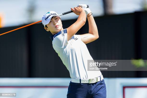 Sung Hyun Park tees off the 10th hole during the first round of the Canadian Pacific Women's Open on August 24, 2017 at The Ottawa Hunt and Golf...