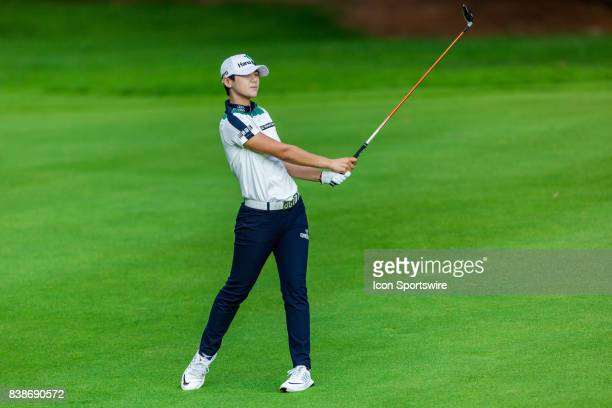Sung Hyun Park watches her fairway shot on the 9th hole during the first round of the Canadian Pacific Women's Open on August 24, 2017 at The Ottawa...