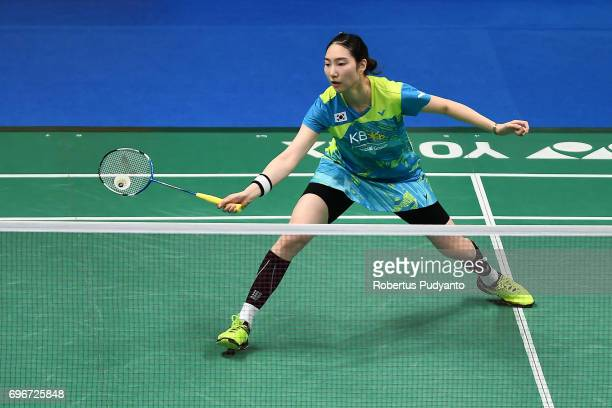 Sung Ji Hyun of Korea competes against Chen Xiaoxin of China during Womens Single Quarterfinal match of the BCA Indonesia Open 2017 at Plenary Hall...