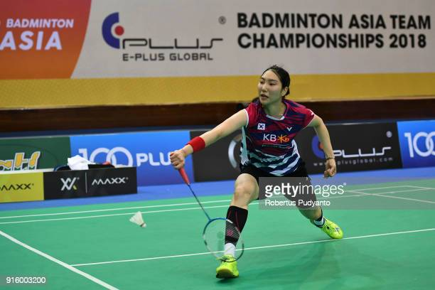 Sung Ji Hyun of Korea competes against Soniia Cheah of Malaysia during Women's Team Quarterfinal match of the EPlus Badminton Asia Team Championships...