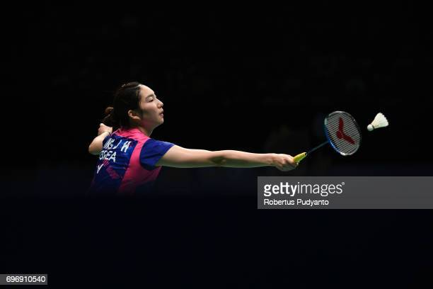 Sung Ji Hyun of Korea competes against Zhang Beiwen of USA during Womens Single Semifinal match of the BCA Indonesia Open 2017 at Plenary Hall...