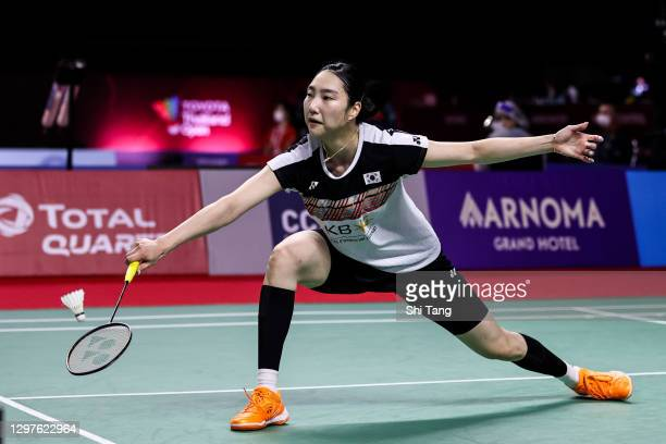 Sung Ji Hyun of Korea competes in the Women's Singles second round match against Ratchanok Intanon of Thailand on day three of the Toyota Thailand...
