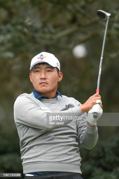 Sung Kane of South Korea tees off on the second hole tee box during the first round of The RSM Classic at the Sea Island Resort Plantation Course on...