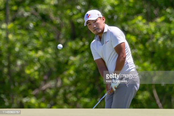 Sung Kang chips onto the green during the final round of the ATT Byron Nelson on May 12 2019 at Trinity Forest Golf Club in Dallas TX