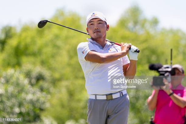 Sung Kang hits his tee shot on during the final round of the ATT Byron Nelson on May 12 2019 at Trinity Forest Golf Club in Dallas TX