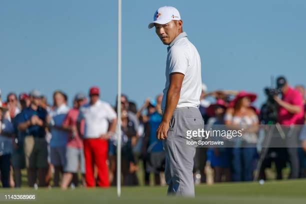 Sung Kang looks back at the flag on during the final round of the AT&T Byron Nelson on May 12, 2019 at Trinity Forest Golf Club in Dallas, TX.