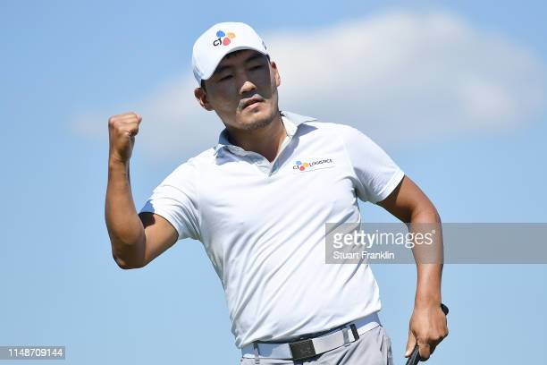 Sung Kang of Korea celebrates after a putt on the tenth green during the final round of the ATT Byron Nelson at Trinity Forest Golf Club on May 12...