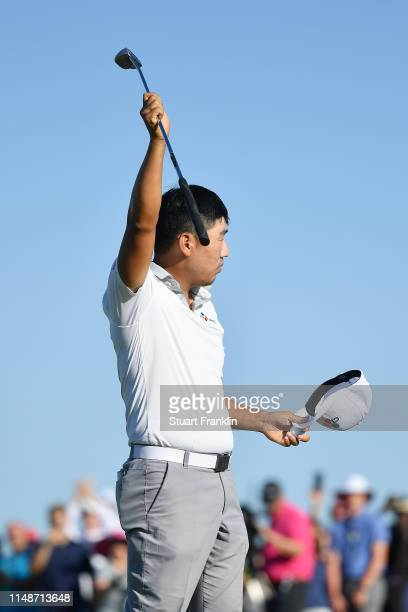 Sung Kang of Korea celebrates on the 18th green after winning the ATT Byron Nelson at Trinity Forest Golf Club on May 12 2019 in Dallas Texas