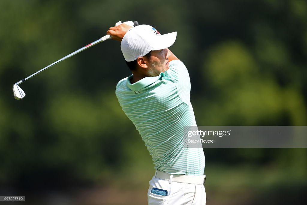 Sung Kang of Korea hits his tee shot on the 16th hole during the first round of the John Deere Classic at TPC Deere Run on July 12, 2018 in Silvis, Illinois.