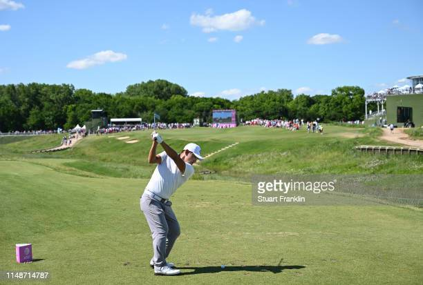 Sung Kang of Korea plays a shot on the 12th hole during the final round at the ATT Byron Nelson at Trinity Forest Golf Club on May 12 2019 in Dallas...