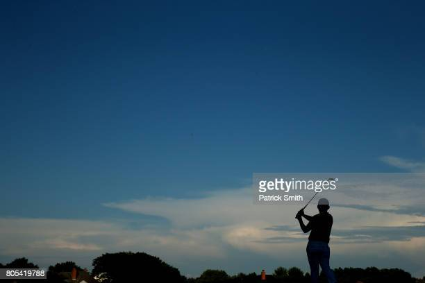 Sung Kang of Korea plays his shot from the 17th tee during the third round of the Quicken Loans National on July 1 2017 TPC Potomac in Potomac...