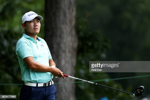 Sung Kang of Korea plays his shot from the eighth tee during the first round of the Quicken Loans National on June 29 2017 TPC Potomac in Potomac...