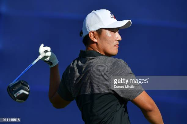 Sung Kang of Korea plays his shot from the seventh tee during the third round of the Farmers Insurance Open at Torrey Pines South on January 27 2018...
