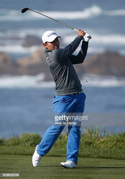 Sung Kang of Korea plays his tee shot on the fourth hole during the first round of the ATT Pebble Beach National ProAm at the Spyglass Hill Golf...