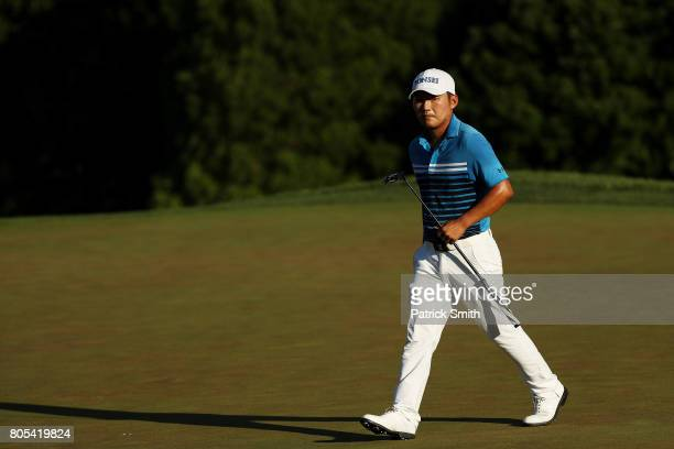 Sung Kang of Korea reacts on the 16th green during the third round of the Quicken Loans National on July 1 2017 TPC Potomac in Potomac Maryland
