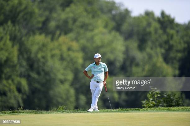 Sung Kang of Korea waits to putt on the 16th green during the first round of the John Deere Classic at TPC Deere Run on July 12 2018 in Silvis...