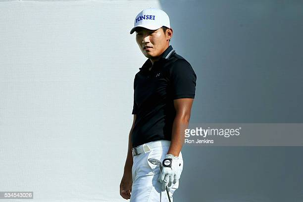Sung Kang of Korea watches his shot on the ninth green during the First Round of the DEAN DELUCA Invitational at Colonial Country Club on May 26 2016...