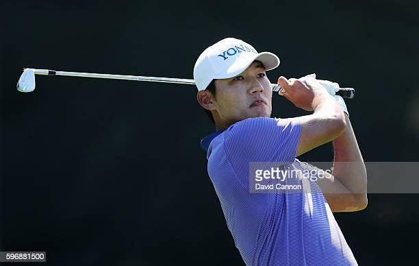 Sung Kang of South Korea hits his tee shot on the 17th hole during the final round of The Barclays in the PGA Tour FedExCup PlayOffs on the Black...