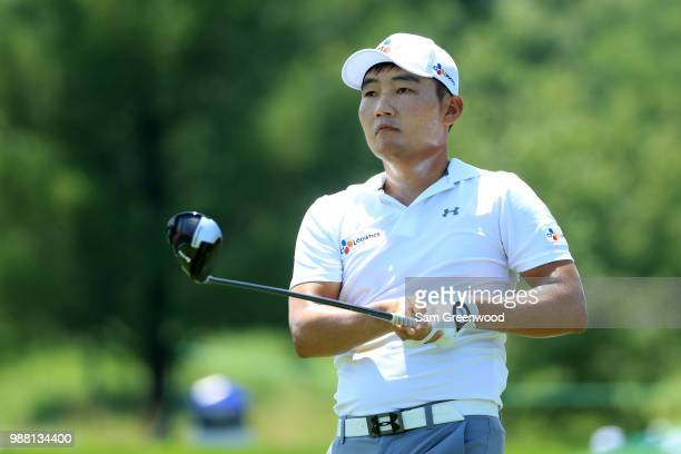 Sung Kang of South Korea hits off the second tee during the third round of the Quicken Loans National at TPC Potomac on June 30 2018 in Potomac...