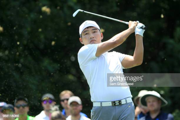 Sung Kang of South Korea hits off the third tee during the third round of the Quicken Loans National at TPC Potomac on June 30 2018 in Potomac...
